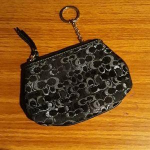 NWOT Coach change purse black/silver